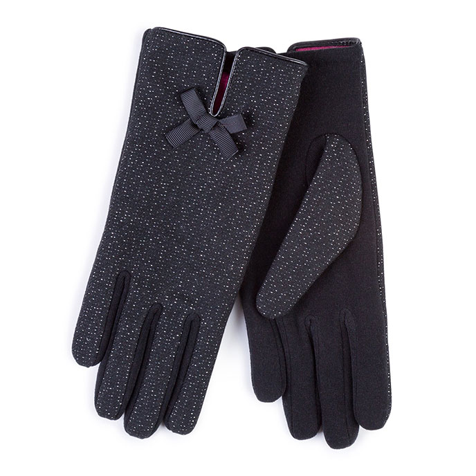 Isotoner Ladies Thermal Glove with Fabric Panel Black
