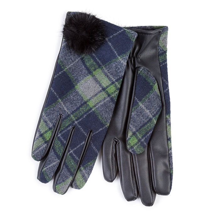 Isotoner Ladies Check and Pom Pom Gloves  Navy