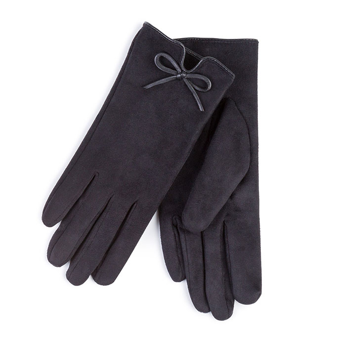 Isotoner Ladies Faux Suede Fabric Glove with Vent & Bow  Black