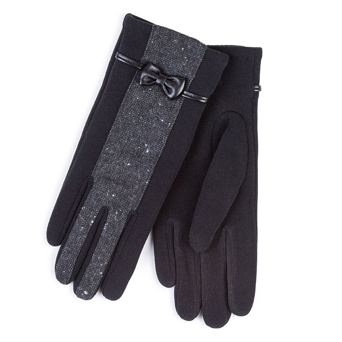 Isotoner Ladies Thermal Gloves with Fabric Panel Black
