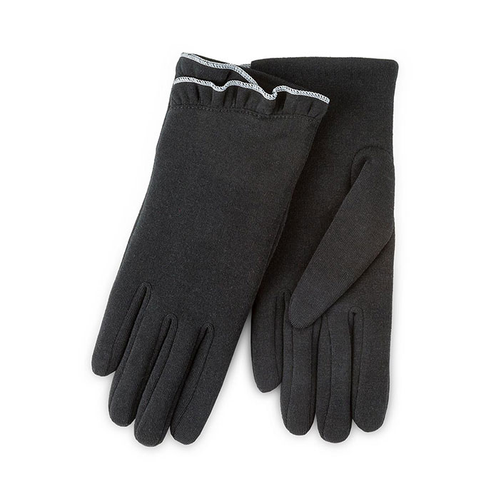Isotoner Ladies Thermal Gloves with Frill  Black