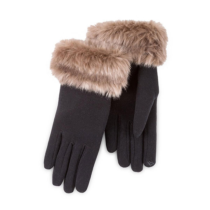 Isotoner Ladies Smartouch Thermal Gloves with Faux Fur Cuff Black