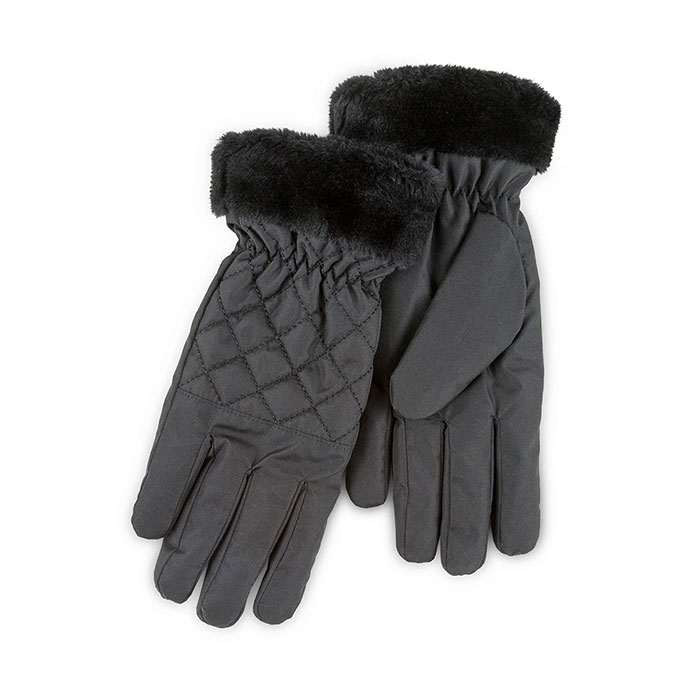 Isotoner Ladies Water Resistant Rouched Gloves Black
