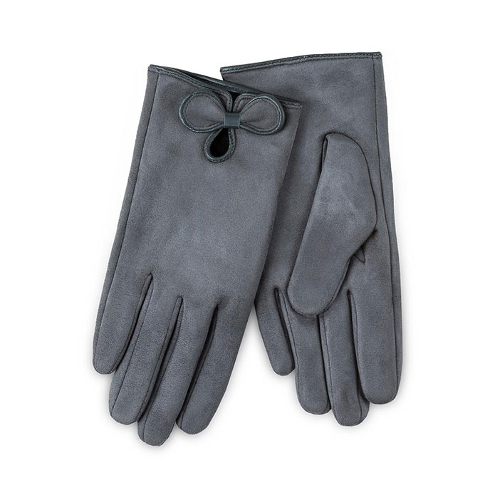 Isotoner Ladies Faux Suede Gloves with Bow Grey