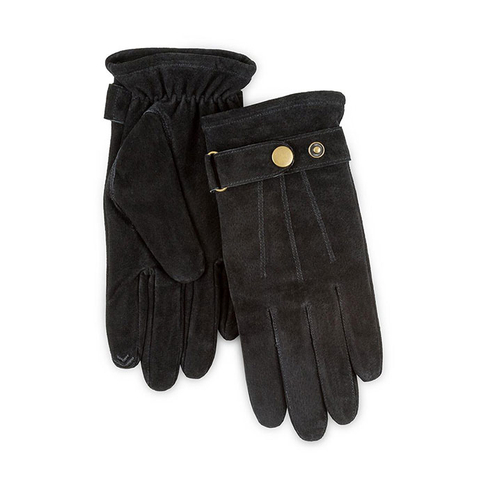 Isotoner Heritage Mens Smartouch Suede Gloves Black