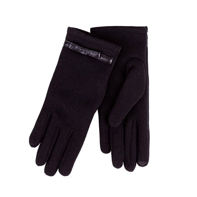 Isotoner Ladies Thermal Glove with Strap & Bow & Smart Touch   Black