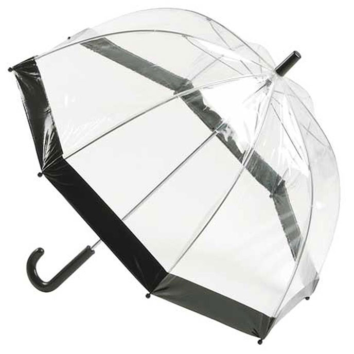 totes PVC Dome Plain Border Umbrella Black
