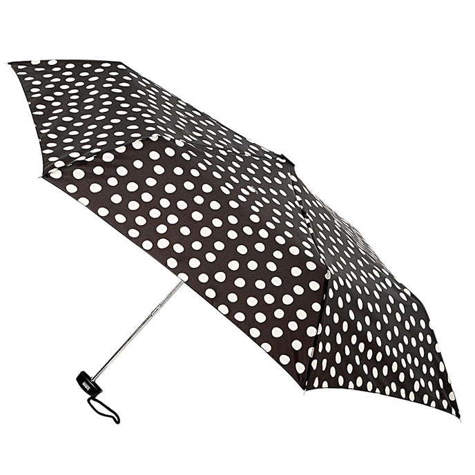 totes Cream & Charcoal Painted Dots Miniflat Umbrella  (3 Section)