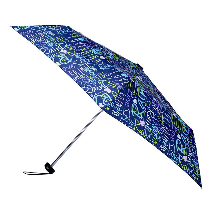 totes Multi Navy Graffiti Miniflat Umbrella  (3 Section)