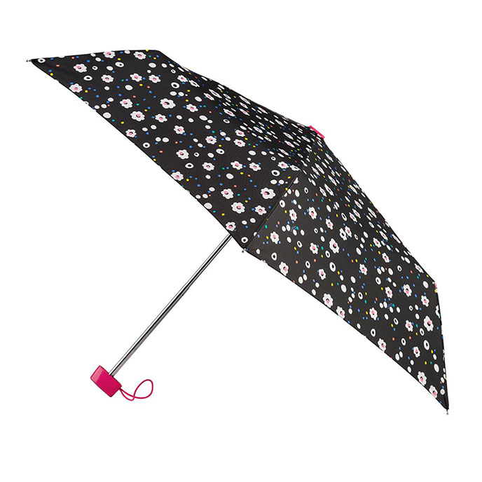 totes Miniflat Dotty Daisy Print Umbrella  (3 Section)