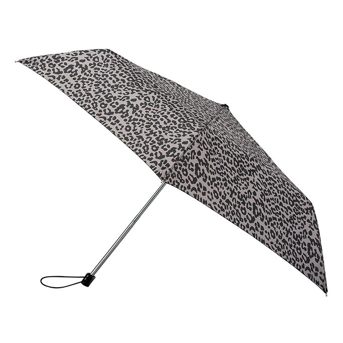 totes Steel Miniflat Taupe Leopard Print Umbrella  (3 Section)