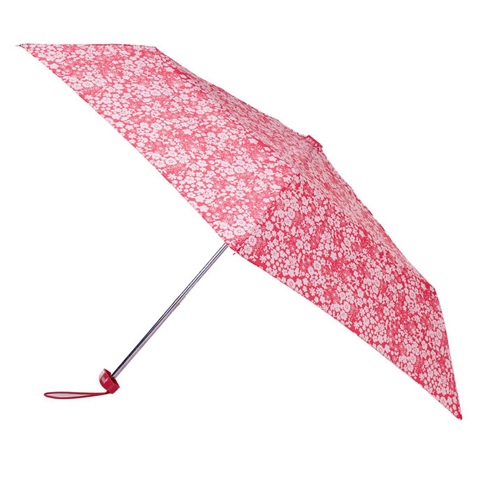 totes Pink Ditsy Miniflat Umbrella  (3 Section)