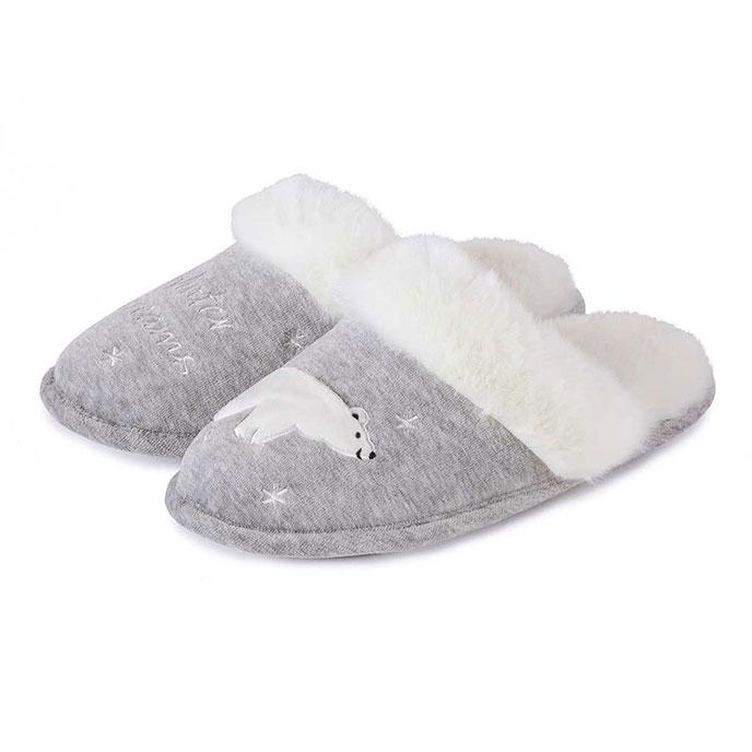totes Ladies Novelty Slippers Grey Polar Bear Large (UK 78)