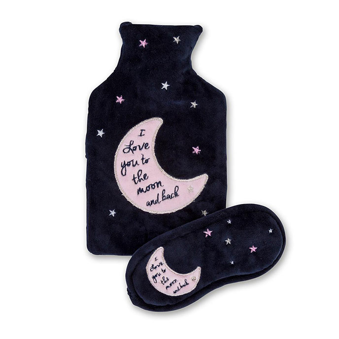 totes Ladies Moon & Back Hot Water Bottle & Eyemask Set Moon & Stars