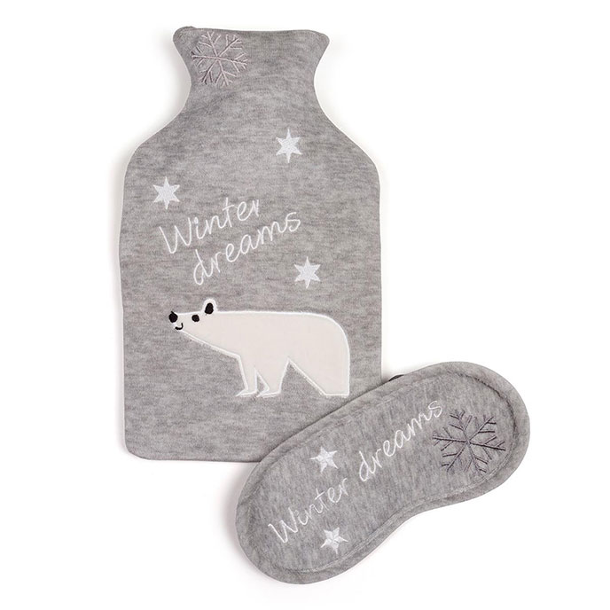 totes Ladies Novelty Hot Water Bottle & Eye Mask Set Grey Polar Bear