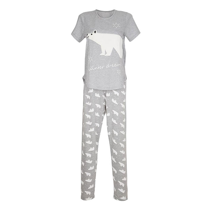 totes Ladies Novelty Pyjama Sets Grey Polar Bear