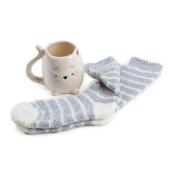 totes Ladies Novelty Mug & Sock Gift Set Cat