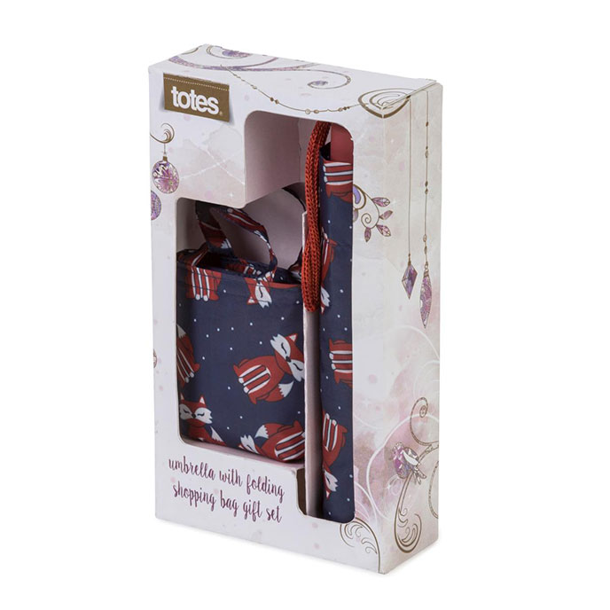 totes Novelty Fox Print Umbrella Gift Set
