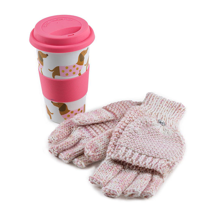 totes Ladies Ceramic Travel Mug & Glove Set