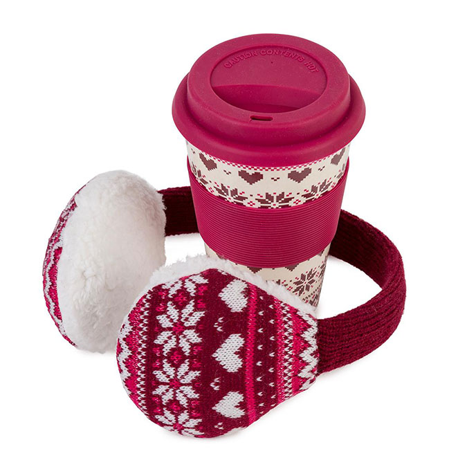 totes Ladies Travel Mug & Earmuff Set Berry
