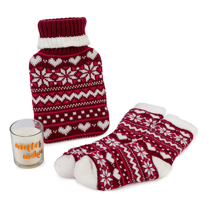 totes Ladies Fairisle Gift Set Berry