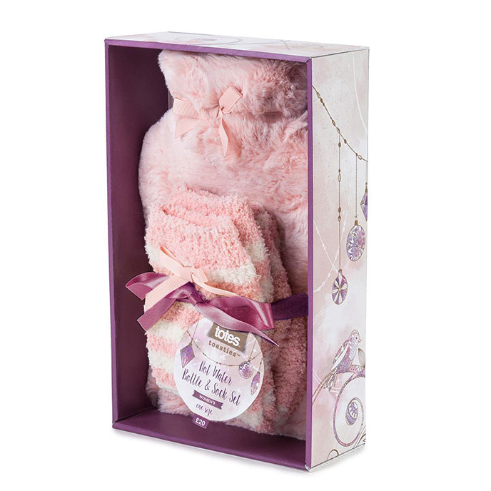totes Ladies Choppy Fur Hotwater Bottle & Cosy Sock Set Pink