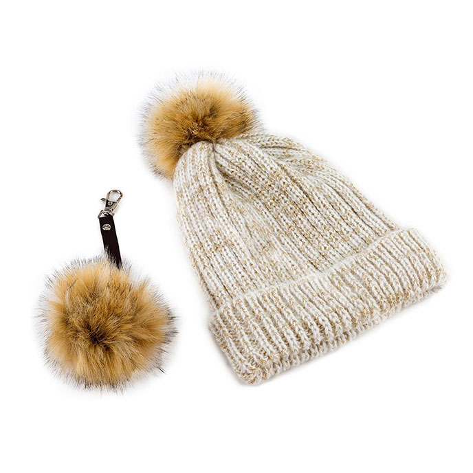 totes Ladies Cream Sparkle Hat & Key Ring Set