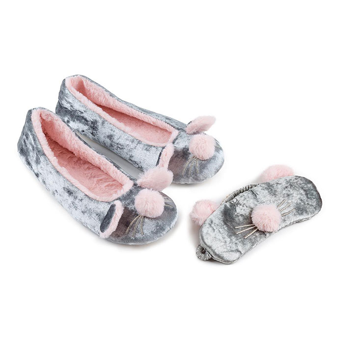 totes Ladies Novelty Mouse Eyemask & Slipper Set Grey Mouse
