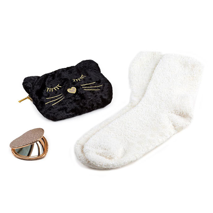totes Ladies Novelty Cat Bag, Sock & Mirror Gift Set