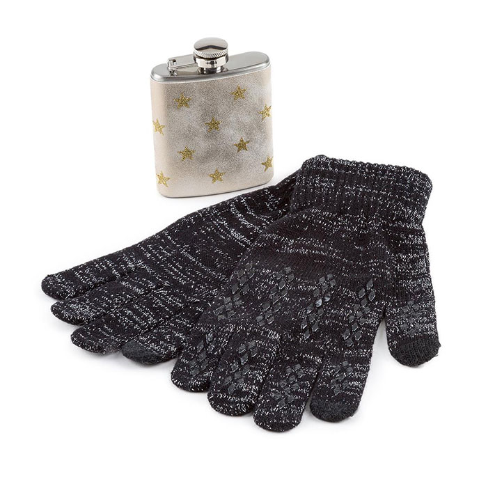 totes Ladies Hip Flask & Glove Set Black/Cream