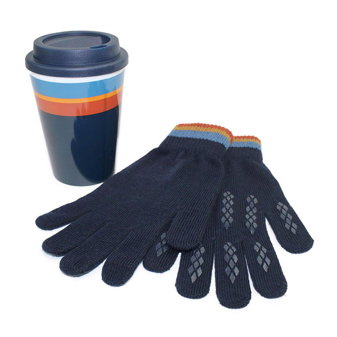 totes Mens Travel Cup & Glove Set Navy