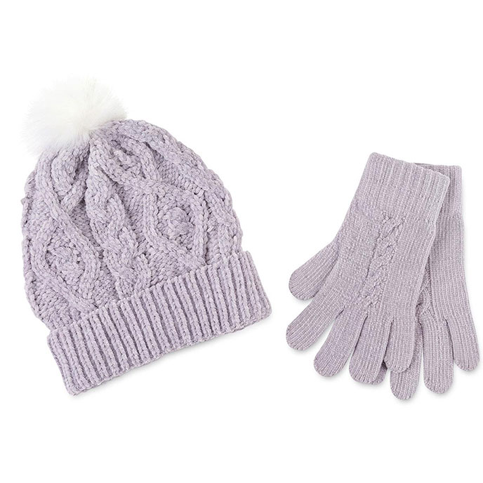totes Ladies Fair Isle Cable Hat & Glove Set Grey