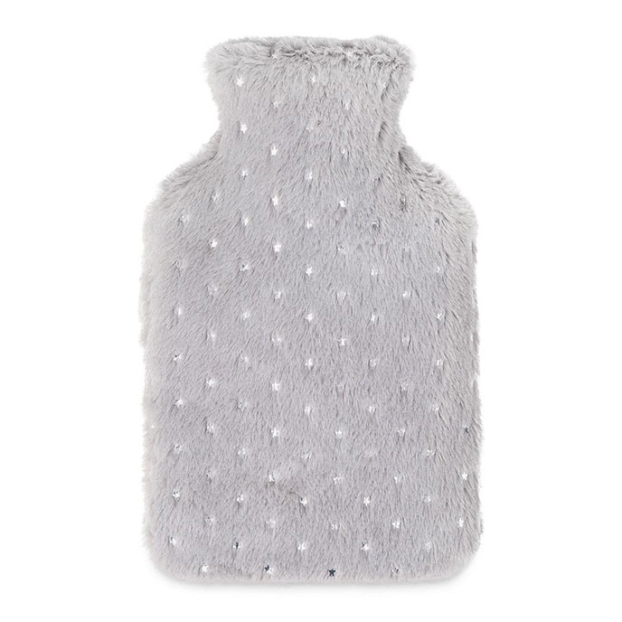 totes Ladies Star Fur Hot Water Bottle Grey