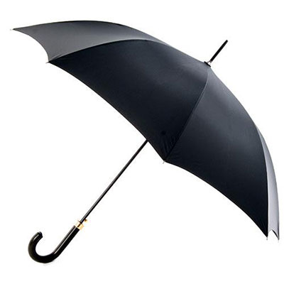 totes Automatic Black Leatherette Handled Umbrella Black