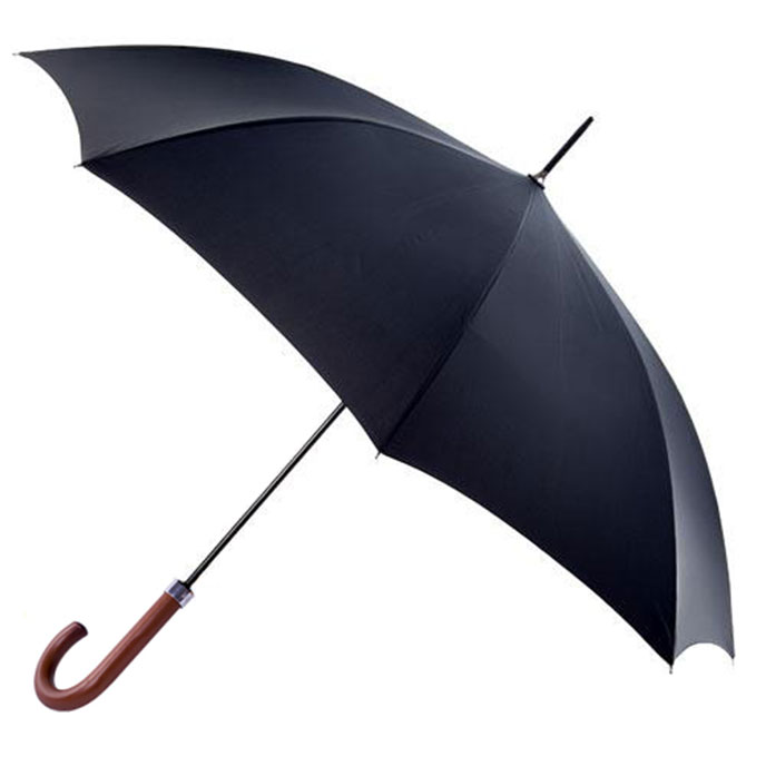 totes Automatic Acacia Wood Umbrella Black