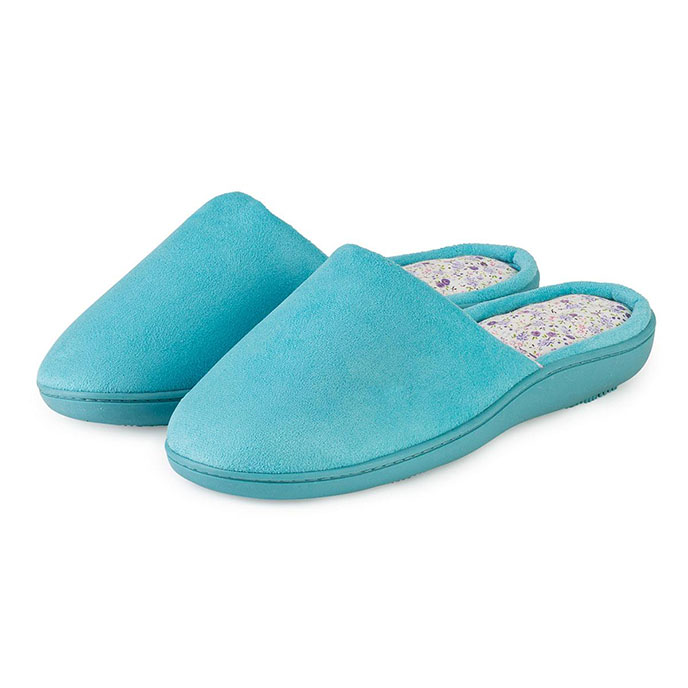 isotoner Ladies Suedette Pillowstep Mule Slippers Aqua