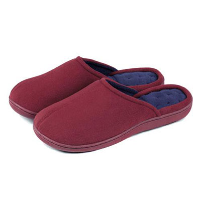 isotoner Suedette Pillowstep Mule Slippers Red with Navy