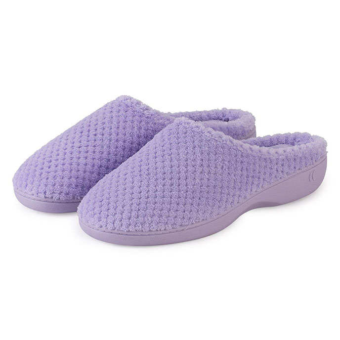 Isotoner Ladies Popcorn Terry Mule Slippers Lavender