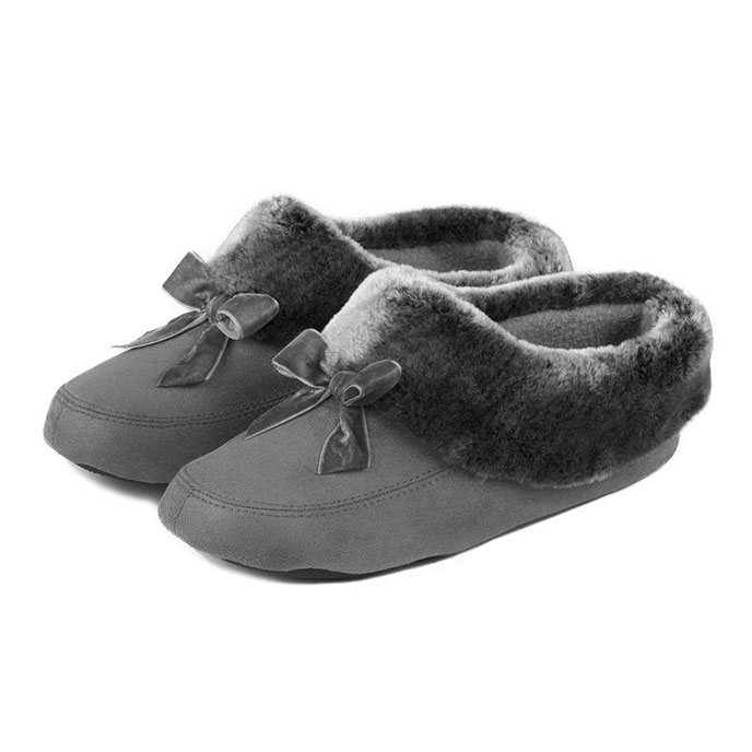 isotoner Closed Back with Fur Trim and Velvet Bow Slippers Grey