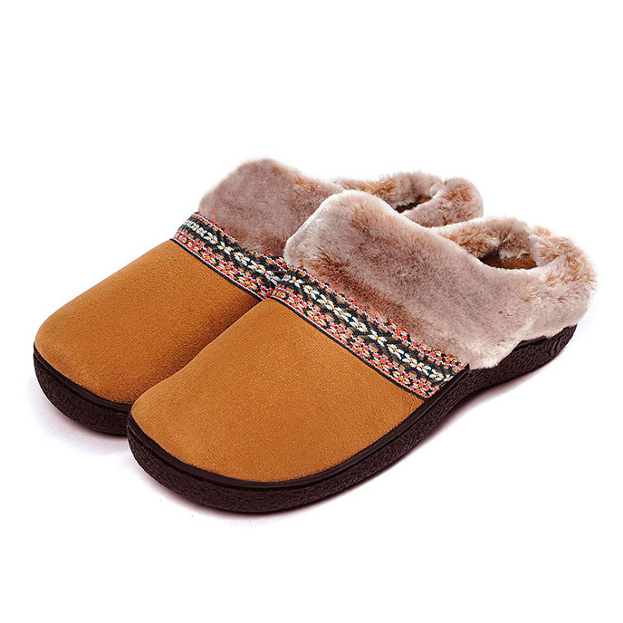isotoner Woodland Mule Slippers with Fur Cuff Tan