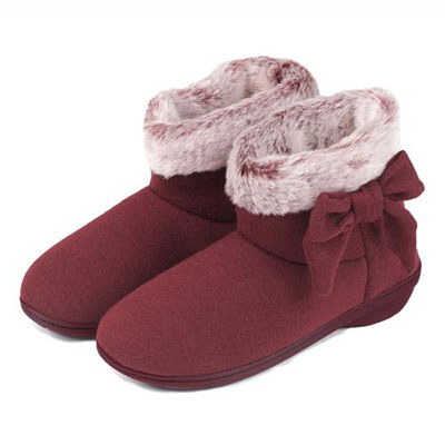 isotoner Knit Pillowstep Boot Slippers With Fur Cuff Burgundy