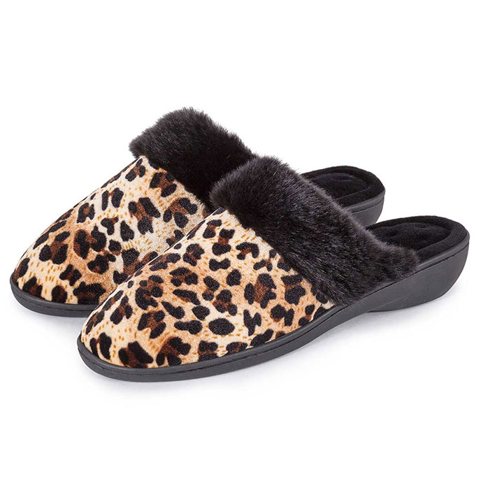Isotoner Ladies Heeled Velour Mule With Fur Cuff Slippers Panther with Black