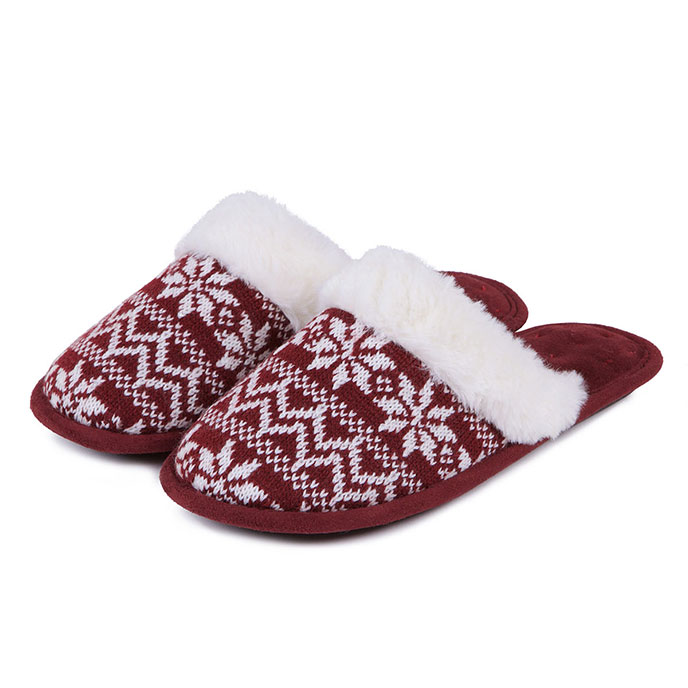 Isotoner Ladies Fair Isle Mule Slippers Burgundy