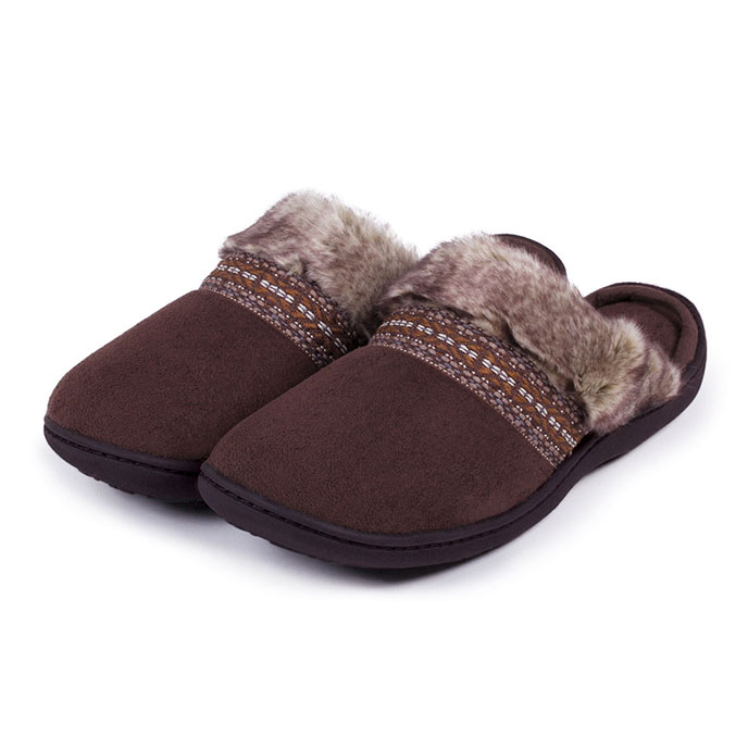 Isotoner Ladies Woodland Mule Slippers With Fur Cuff Chocolate