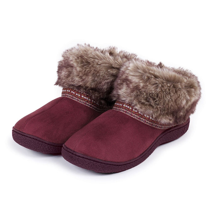 Isotoner Ladies Woodland Boot Slippers With Fur Cuff Henna