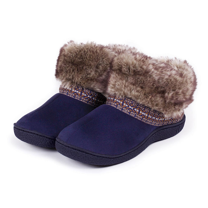 Isotoner Ladies Woodland Boot Slippers With Fur Cuff Navy
