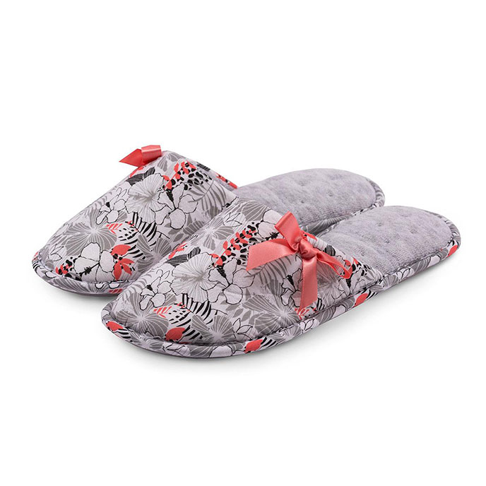 Isotoner Floral Mule Slipper Grey & Coral
