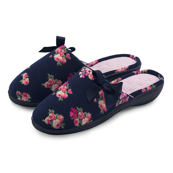 Isotoner Navy Floral Mule Slipper Navy