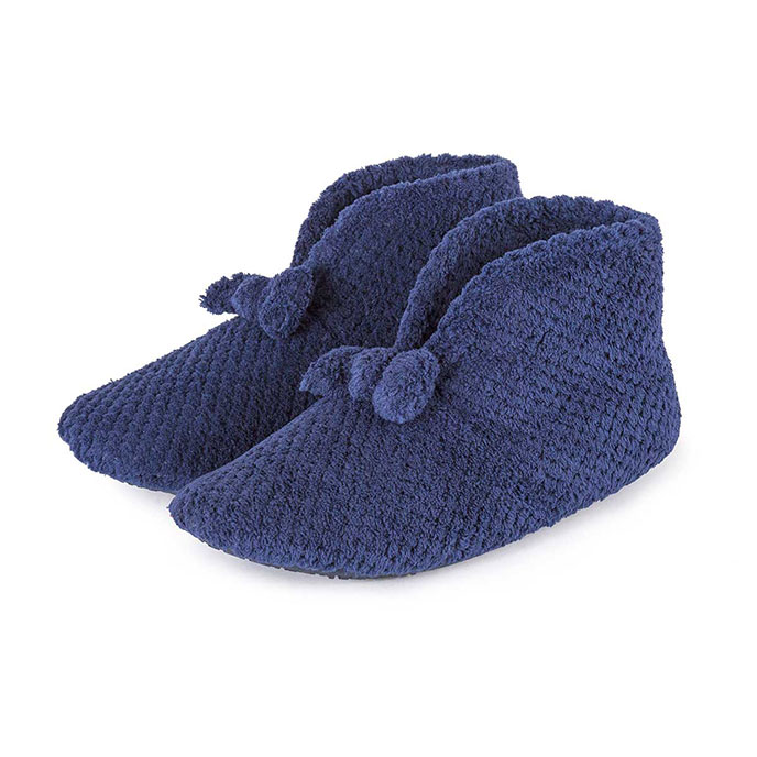 Isotoner Ladies Popcorn Booties Navy
