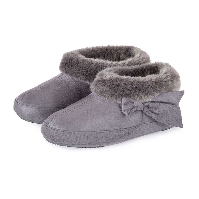 Isotoner Ladies Suedette Bootie with Fur Cuff Slippers Grey